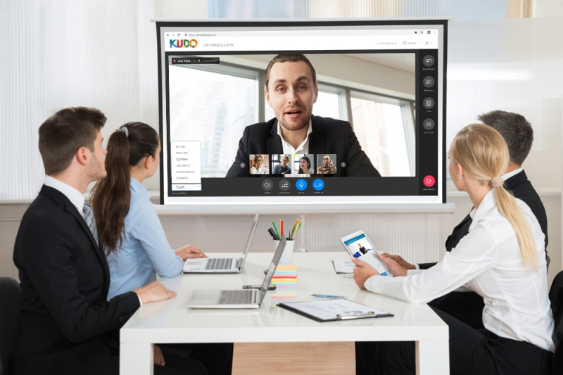 Businesspeople Attending Video Conference